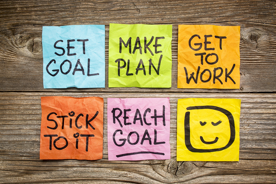 set goal, make plan, work, stick to it, reach goal - a success c
